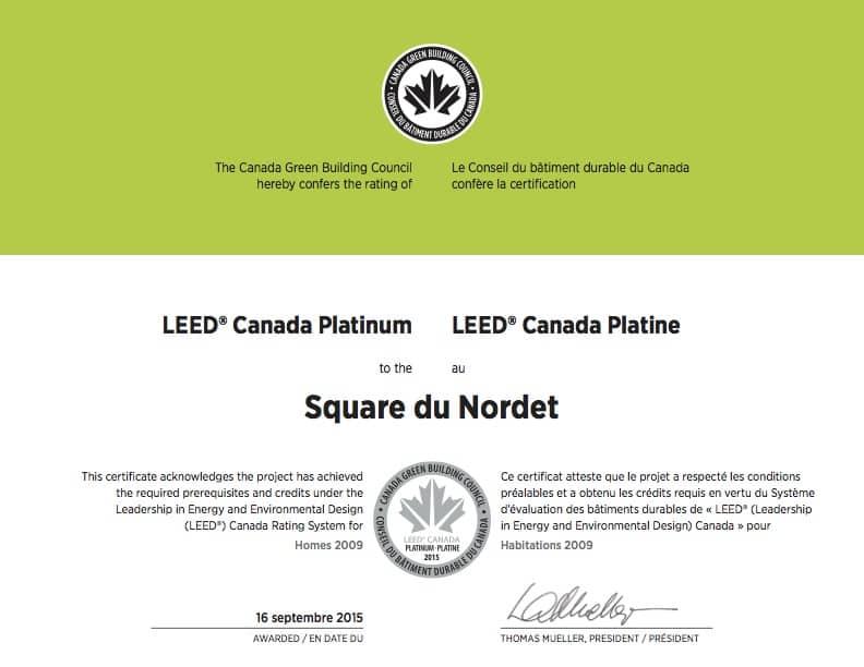 Square Du Nordet Leed Canada Platinum Boisfranc